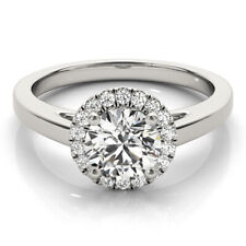 1.30 CT ROUND MOISSANITE FOREVER ONE HALO PAVE BAND ENGAGEMENT WEDDING RING