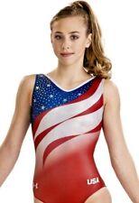 """Under Armour Gk Elite """"Go For The Gold� Usa Leotard Gymnastics Bling Ua Flag Cm"""