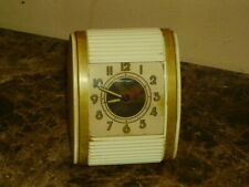 Vintage WESTCLOX  Travel Alarm Clock Roll Door Mid Century Wind Up White