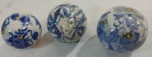 Vintage Blue Transfer China Carpet Balls for Playing an Indoor Game C.1920's
