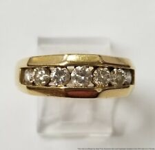 Mens Unisex Band Ring 8.8g .95ctw Channel Set Diamond 14k Gold