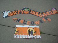 Vintage 6-Foot Amscan HAPPY HALLOWEEN Jointed Cardboard Banner, tablecloth plus!