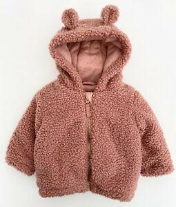 NEW Baby Girls Furry Pink Warm Cosy Teddy Bear Fleece Jacket Coat With Hood Ears