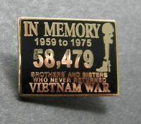 VIETNAM WAR IN MEMORY 1959 1975 VET VETERAN LAPEL HAT PIN BADGE 1 INCH