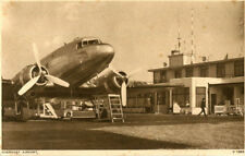 1930s postcard DeHavilland Dakota at Guernsey Airport