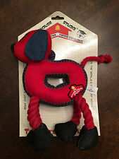 New Schoolhouse Plush Red Dog Rope Tug Snuggle Fetch Squeaky Squeaker Dog Toy