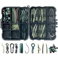 180pcs Carp Fishing Tackle Accessories Kit Lead Clips Carp Swivels Hooks Beads