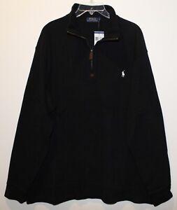 Polo Ralph Lauren Mens Black White Pony 100% Cotton 1/2 Zip Sweater NWT Size S