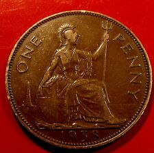 Brown Toned 1938 English Penny of George VI, Nice Original Details all around!f
