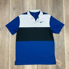 New listing Nike Golf Dri Fit Golf Polo Shirt Short Sleeve Striped Brooks Koepka Blue Medium