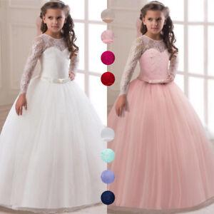 Flower Girl Princess Dress Party Wedding Bridesmaid Kid Formal Gown Long Dresses