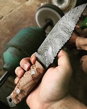 """10"""" BDS CUTLERY Custom Made Damascus Steel Hunting Full Tang Bowie Knife, UK-009"""
