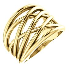 SOLID 14K YELLOW GOLD CRISS CROSS RING SIZE 4 - 9