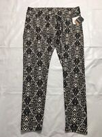 Reebok Compression Tight Fit Athletic Pants Womens XL Tribal Snake Print Black