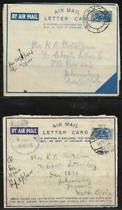 South Africa 1944 Airmail 'Passed by Censor' No. 6436/ 5687 Sent to Johannesburg