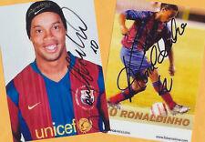 RONALDINHO - 2 SUPER - AK Bilder (3) Print Copies + 2 AK Fußball WM signiert