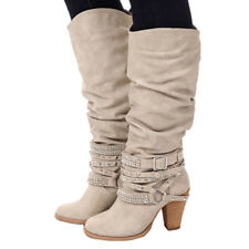 Winter Mid Heels Women Knee High Buckle Strappy Diamonds&studs Long Boots Shoes