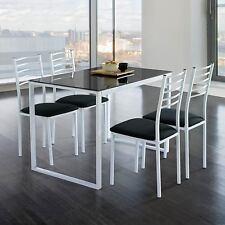 Conjunto Noa de mesa de cocina + 4 sillas  cristal negro