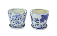 Set of 2 Floral Blue and White Planter Pots With Saucers 4 Inches High