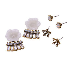 Bella Ivory Resin Floral Halos + Crystal Fan Jackets Set of 2 Earrings Pairs CI