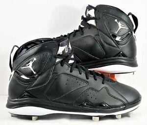 Mens Nike Air Jordan 7 VII Retro Baseball Cleats Black White 684943-010