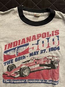 Indianapolis 500 Ringer Shirt Screen Stars 1984 Indy500 USA Single Stitch YOUTH
