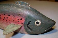 Vintage Folky Rainbow Trout Ice Fishing Decoy - Light Wear #R1 Fish