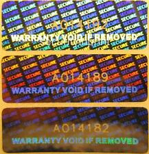 """140 """"WARRANTY VOID IF REMOVED"""" Hologram labels with serial numbers 30X10 R3010SN"""