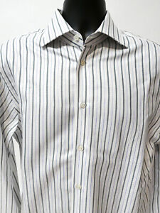 Corneliani Size US 16 41 Dress Shirt White Green Light Blue Stripe Italy