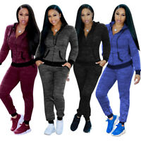 2019 Women's 2Pcs Casual Hoody Tops Sweatshirt Track Pants Sweat Suits Tracksuit