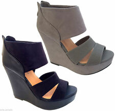 Womens High Block Heel Platform Wedge Shoes Cuff Peep Toe Strap Suede Hot Ladies