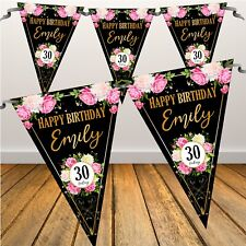 Personalised 18th 21st 30th 40th Birthday Party Flag Banner Bunting N90 Any age