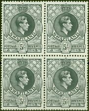More details for swaziland 1943 5s slate sg37a p.13.5 x 14 v.f mnh block of 4