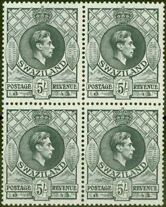 Swaziland 1943 5s Slate SG37a P.13.5 x 14 V.F MNH Block of 4