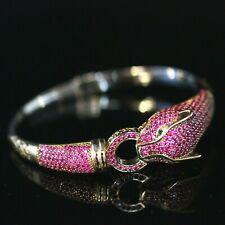 925 Sterling Silver Handmade Animal Turkish Tiger Ruby Bracelet Bungle Cuff