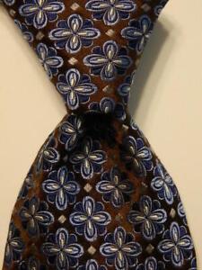 ROBERT TALBOTT Best of Class Silk Necktie Luxury Geometric Brown/Blue/Gray NWT