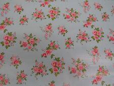 Duck Egg Blue Flowers Polka Dot Tablecloth Vinyl PVC Oilcloth Wipe/Clean Fabric