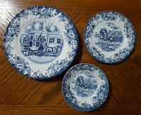 Vintage Johnson Bros Ironstone COACHING SCENES Blue White Plates Bowls Lot of 7