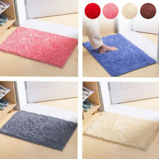 Non-slip Microfiber Shaggy Bath Mat Bedroom Bathroom Absorbent Carpet Pure Color