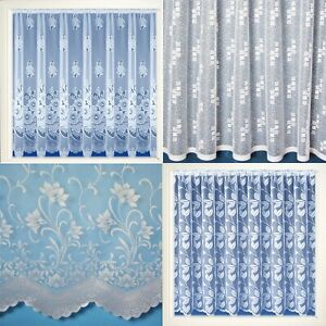 WHITE NET CURTAINS - SOLD BY THE YARD- FLORAL CHEAP - LUXURY LACE