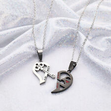 2pcs His and Hers Stainless Steel Love Heart Lock Key Couple Necklace Pendant US