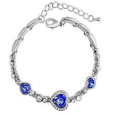 Women Fashion Silver Plated Blue Crystal Rhinestone Heart Charm Bangle Bracelet