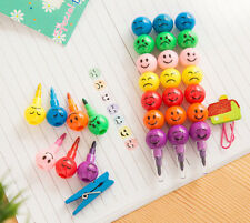 7 Colors Cute Stacker Swap Smile Face Crayons Kindergarden Children Drawing Gift