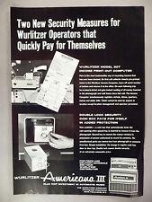 Wurlitzer Americana III Jukebox PRINT AD - 1969 ~print-out computer,new security