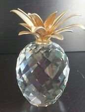 """SWAROVSKI LEAD CRYSTAL FACETED PINEAPPLE WITH SMOOTH GOLD LEAVES (J77) 4"""" large"""