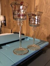 Partylite Two Stemmed Mosaic Calypso Candle Holders