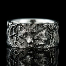 Vintage Handmade Women's 925 Silver Wolf Rings Punk Gothic Jewelry Size 5-10