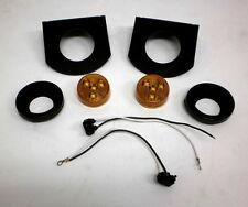 "Two 2"" Round LED amber Trailer Marker Light +Brackets"