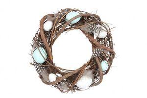 Gisela Graham Easter Egg, Feather, Twig Decorative Door Wreath - Pastel Coloured