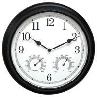 Indoor/Outdoor 14 in. Black Metal Wall Clock Analog Thermometer and Hygrometer